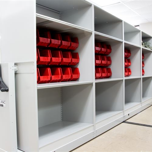 Bin storage on Shelving at Air Force Base