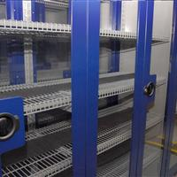Mechanical Assist Mobile Shelving Unit with Wire Shelving for Pharma Compound Chemical Storage