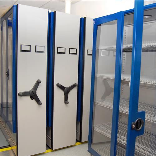 Mechanical Assist Mobile Shelving Unit with HVAC Integration for Pharma Compound Chemical Storage