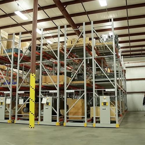 Turbine Part Storage on Mobile Racking System in a Turbine Manufacturer's Warehouse