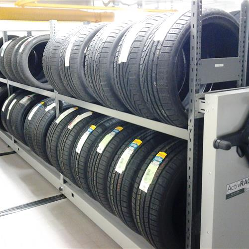 Tire storage racks in auto dealership Vancouver British Columbia