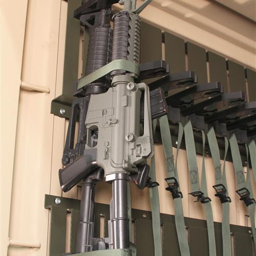 Close-up of Gun Storage on Universal Expeditionary Weapons Storage System (UWESS)