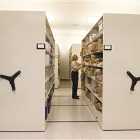 Evidence stored on wide mobile storage shelving
