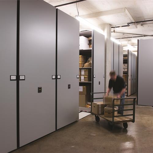 Bulk evidence storage on Mobile shelving system