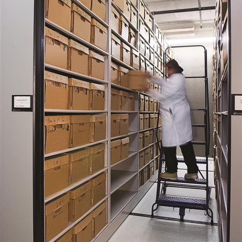 Mobile shelving holding bulk boxes of evidence storage