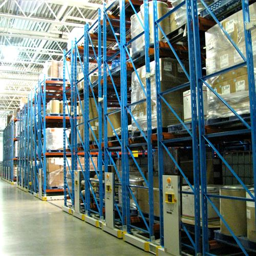 Pharmaceutical warehouse storage using compact mobile racking