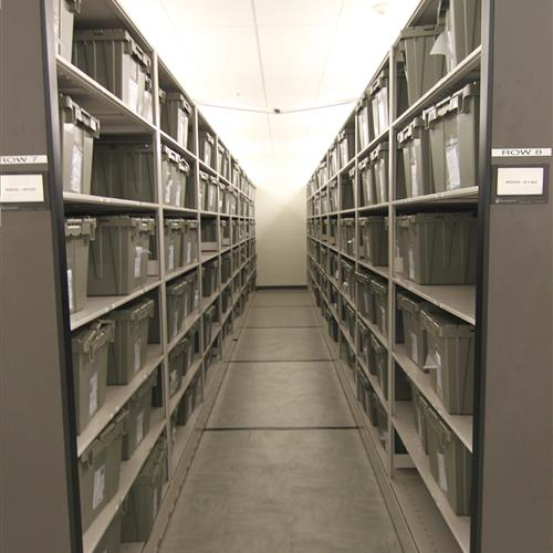 Inmate Property Storage on Powered Mobile Shelving at Wake County Detention Center, North Carolina