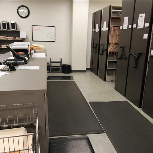 High-Density File Storage on Mechanical-Assist Mobile Shelving at Wake County Detention Center, North Carolina