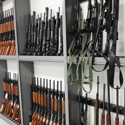 Shotgun and Rifle Storage on Weapons Racks at Durham County Courthouse, North Carolina
