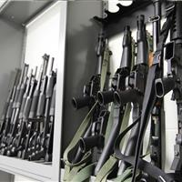 Rifles and Shotguns on Floor-Mounted Weapons Racks at Durham County Courthouse, North Carolina