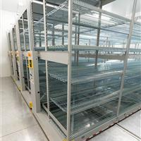 Mobile shelving in climate-controlled room at Bayer Pharmaceutical Company