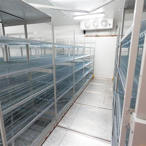 Wire racking on ActivRAC mobile shelving at Pharmaceutical Company