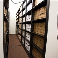 Boxed sports equipment storage on powered mobile at Stanford sports medicine department