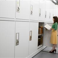 Book preservation storage in museum cabinets at California Academy of Sciences Building