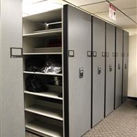 Aurora Police Department storing riot gear on secure compact mobile shelving