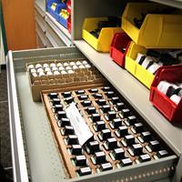 Taser cartriges in modular drawer on high-density shelving