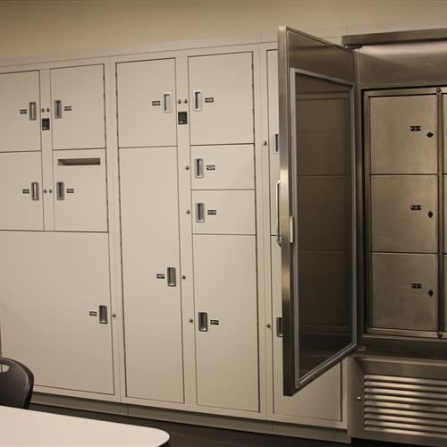 Temporary Evidence locker and refrigerator system at Bellevue Police Department
