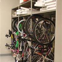 Confiscated bike storage hanging on static shelving at Bellevue Police Department