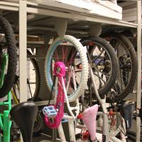 Bicycles stored on bike rack at Bellevue Police Department