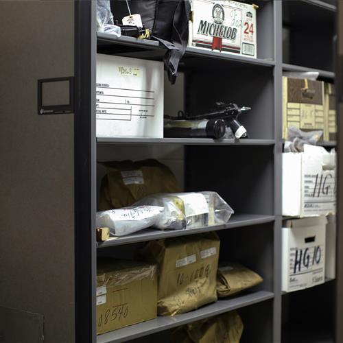 Compact storage system for long term evidence storage at Bensalem Police Department
