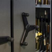 Mechanical Assist compact storage system for weapon and pistol rack storage of evidence in Bensalem Police Department
