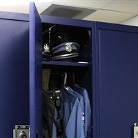 Modular storage for police uniforms in personal storage locker