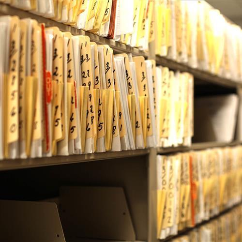 Record storage on 4-post file shelving at Bensalem Police Department