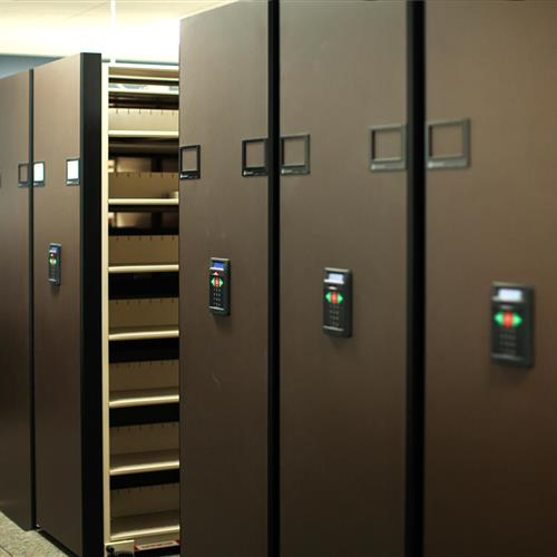 Case files in PIN pad access high-density mobile shelving