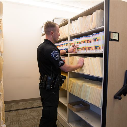Records storage on Mechanical assist mobile from Central Marin Police Department