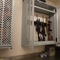 wall mounted weapons storage system at Central Marin Police Department