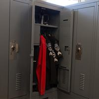 Double door personal storage locker gives easy access to police equipment