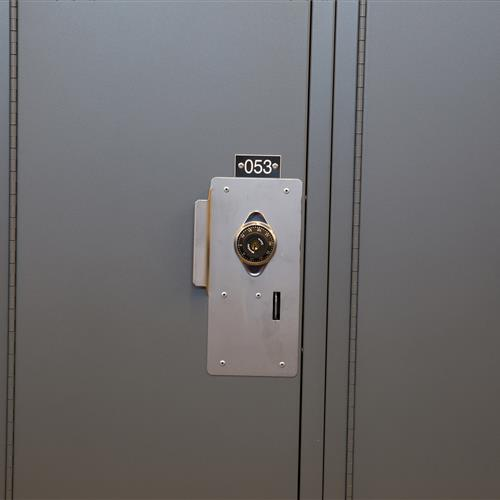 Combination locks on the personal storage lockers provide the needed security to keep personal items safe