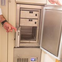 Small Refrigerated evidence storage access within large bank of temporary evidence storage lockers