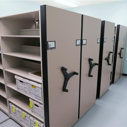 Case-type shelving on mechanical-assist mobile shelving