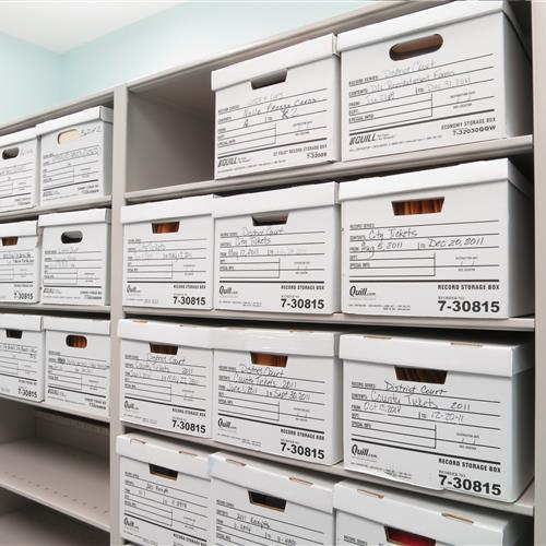 Boxed files on case-type shelving