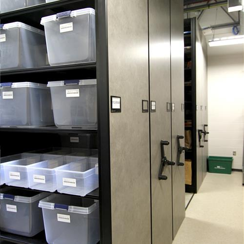 Mechanical-assist mobile storage with evidence storage shelving