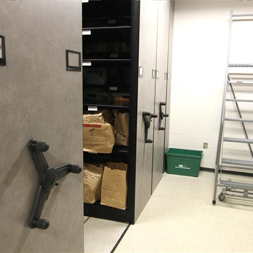 Evidence storage on mechanical-assist mobile shelving