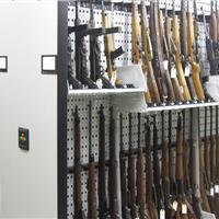 Weapons rack is modular with the addition of shelves and barrel support of the evidence
