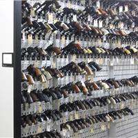 Punched back panel allows many different configurations of evidence weapons storage for maximum capacity