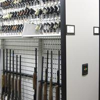 Shotgun and handgun evidence storage on compact mobile shelving