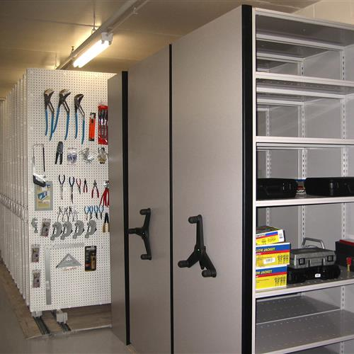 Tool sets on high-density mobile shelving
