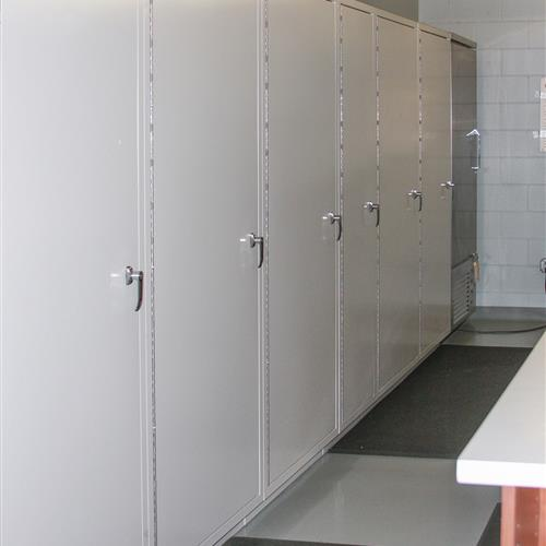 Back side of pass through evidence lockers for Evidence Technician access