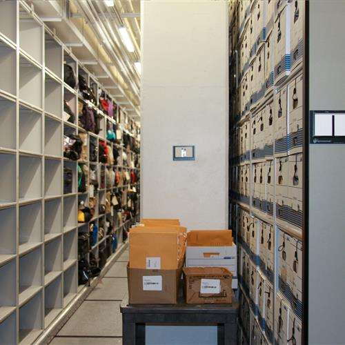 Long-term evidence storage on 4-post shelving at Omaha Police Department