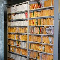 Organized Evidence storage on compact mobile shelving