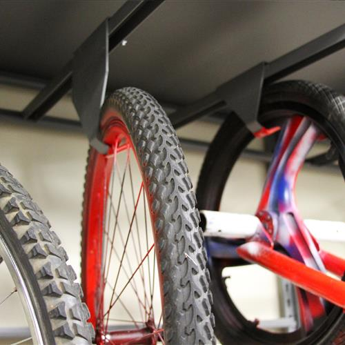Up-close view on bike on static hanging hook