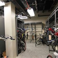 Confiscated bikes stored on hooks inside statitc shelving