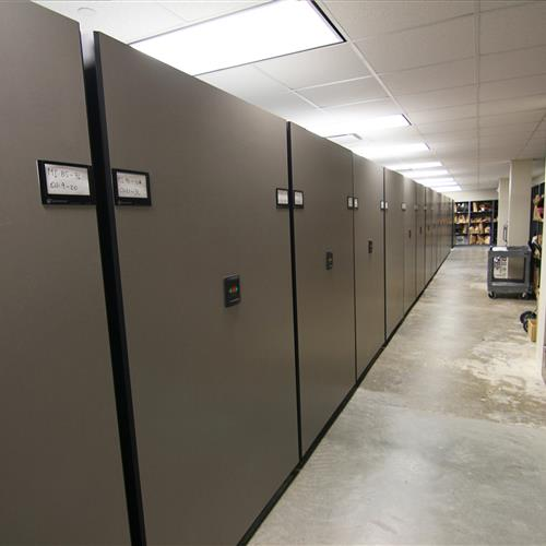 Compact mobile shelving system for evidence storage at Raleigh Police Department