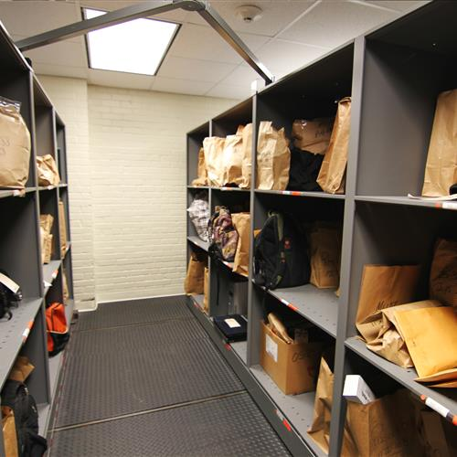 Evidence storage on compact mobile shelving