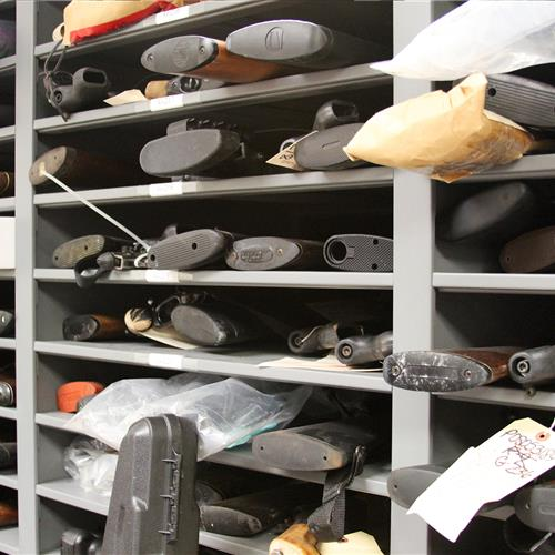 Long term evidence storage of confiscated weapons on static shelving