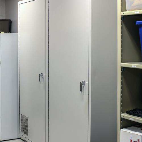 Back half of pass-thru evidence lockers for evidence processing technicians to access